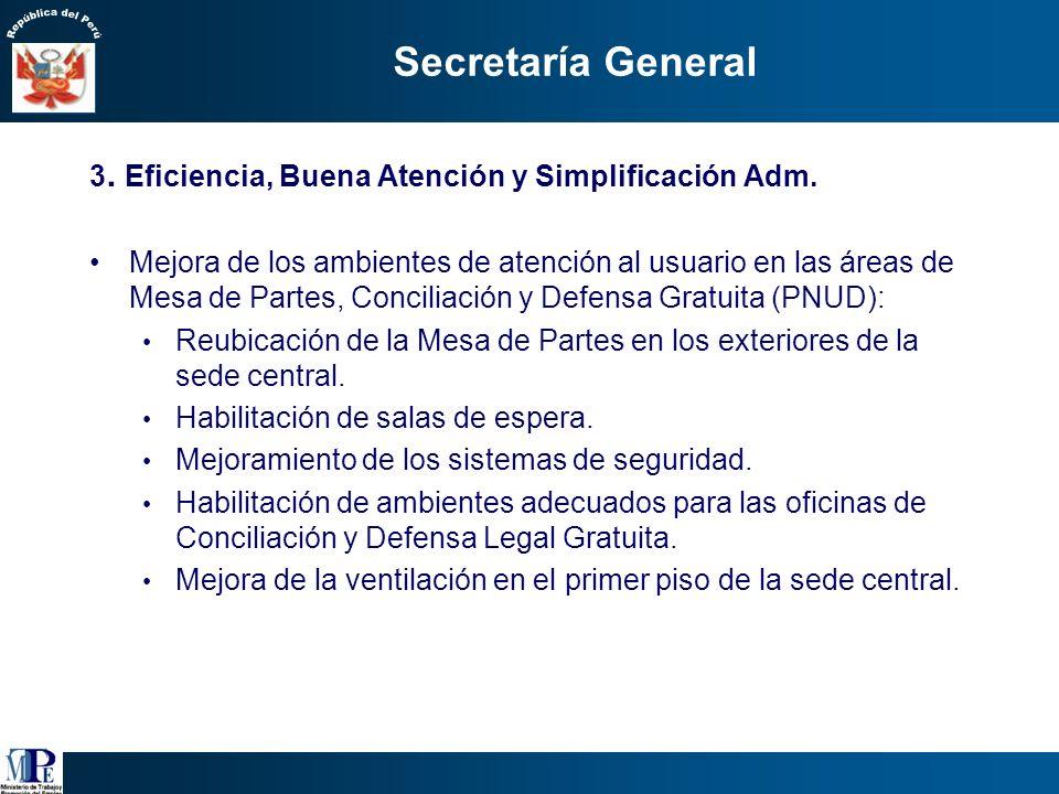 Secretaría General 3. Eficiencia, Buena Atención y Simplificación Adm.