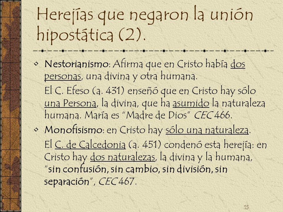 Herejías que negaron la unión hipostática (2).
