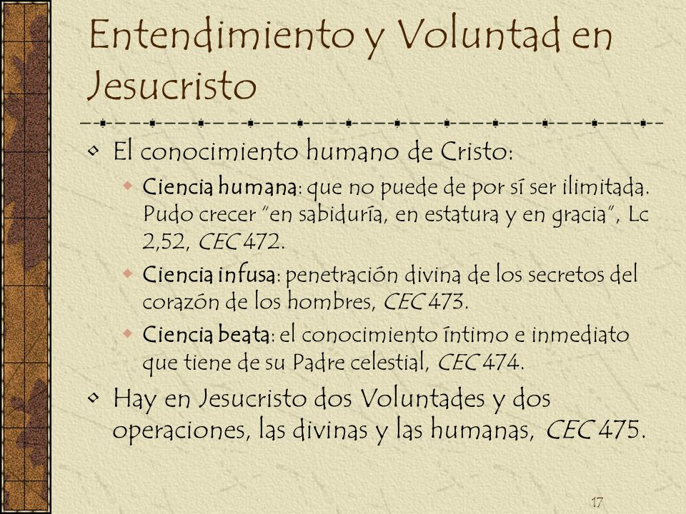Entendimiento y Voluntad en Jesucristo