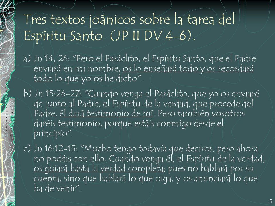 Tres textos joánicos sobre la tarea del Espíritu Santo (JP II DV 4-6).