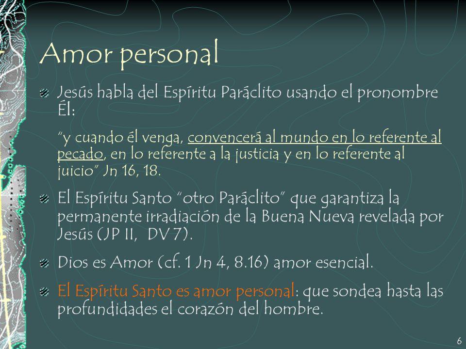 Amor personal Jesús habla del Espíritu Paráclito usando el pronombre Él: