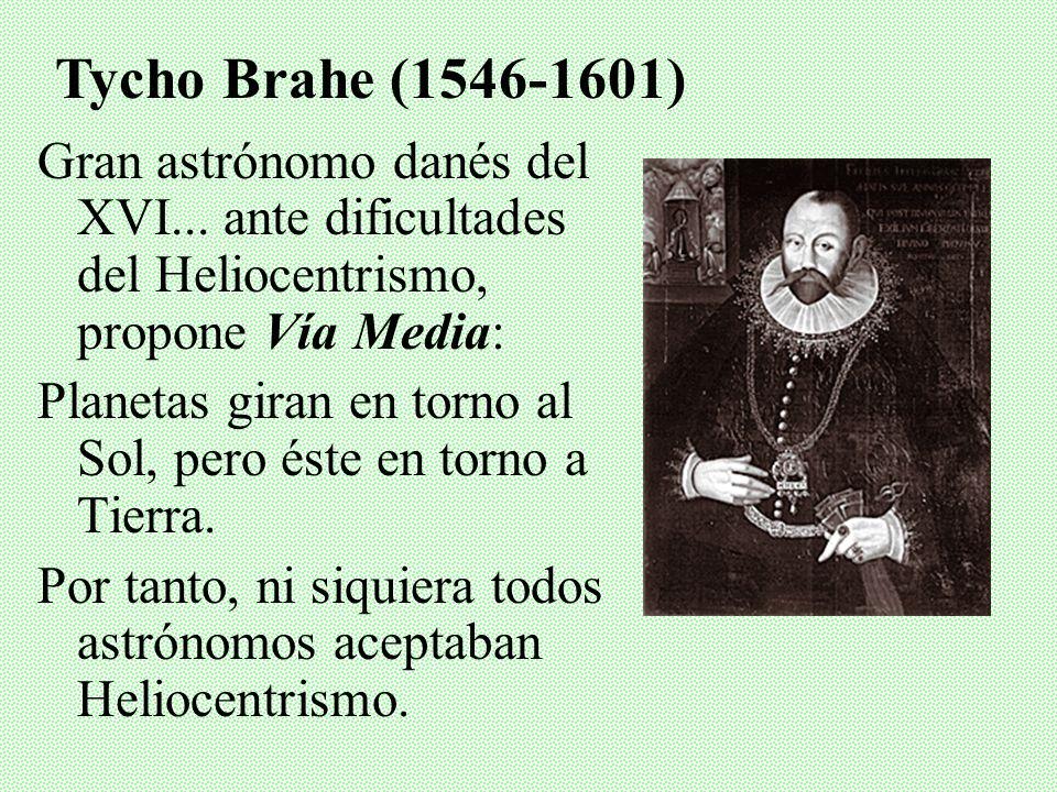 Tycho Brahe (1546-1601)Gran astrónomo danés del XVI... ante dificultades del Heliocentrismo, propone Vía Media:
