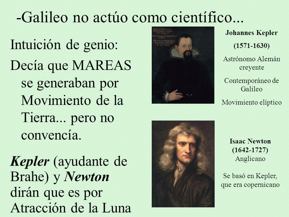 -Galileo no actúo como científico...