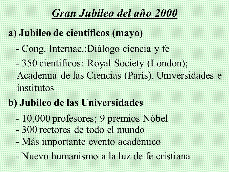 Gran Jubileo del año 2000 a) Jubileo de científicos (mayo)