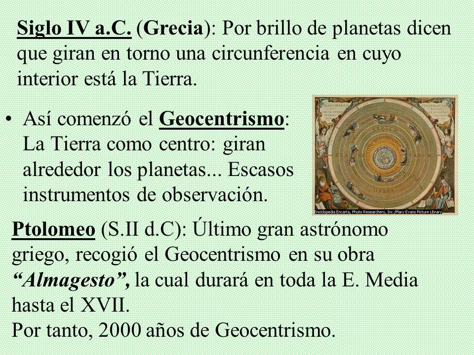 Siglo IV a.C. (Grecia): Por brillo de planetas dicen que giran en torno una circunferencia en cuyo interior está la Tierra.