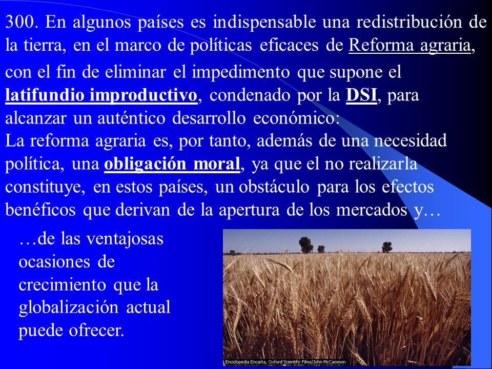 300. En algunos países es indispensable una redistribución de la tierra, en el marco de políticas eficaces de Reforma agraria,