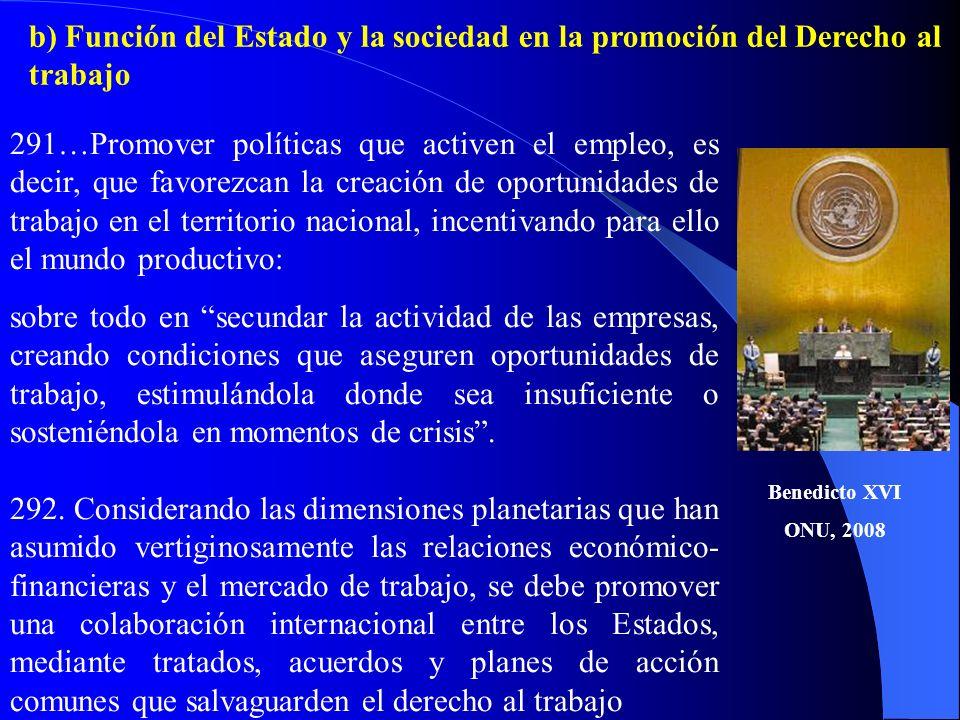 b) Función del Estado y la sociedad en la promoción del Derecho al trabajo