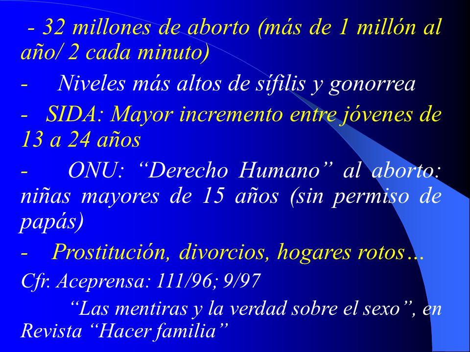 - 32 millones de aborto (más de 1 millón al año/ 2 cada minuto)