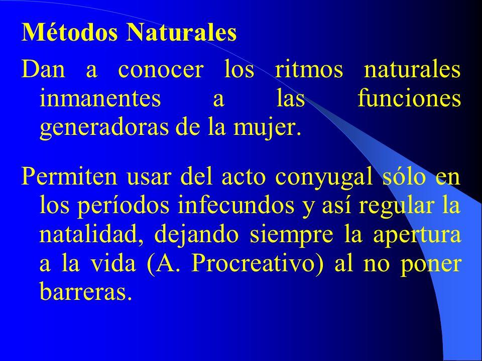 Métodos Naturales Dan a conocer los ritmos naturales inmanentes a las funciones generadoras de la mujer.