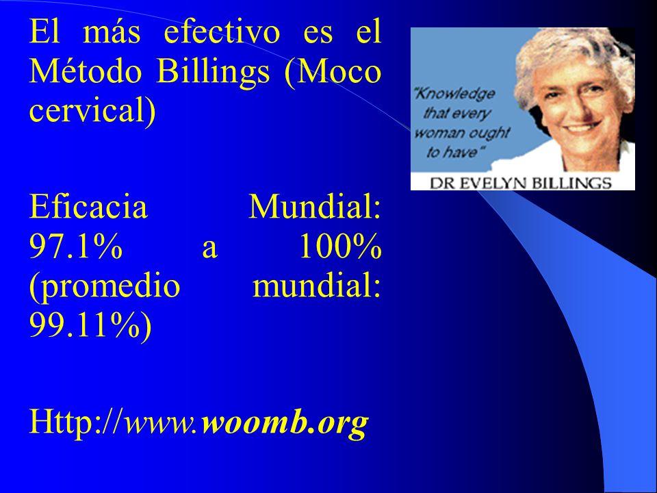 El más efectivo es el Método Billings (Moco cervical)
