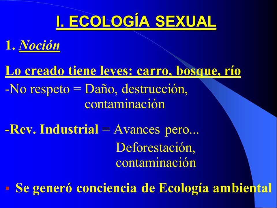 I. ECOLOGÍA SEXUAL 1. Noción Lo creado tiene leyes: carro, bosque, río