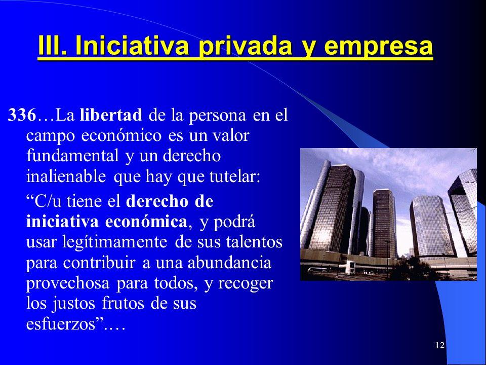 III. Iniciativa privada y empresa