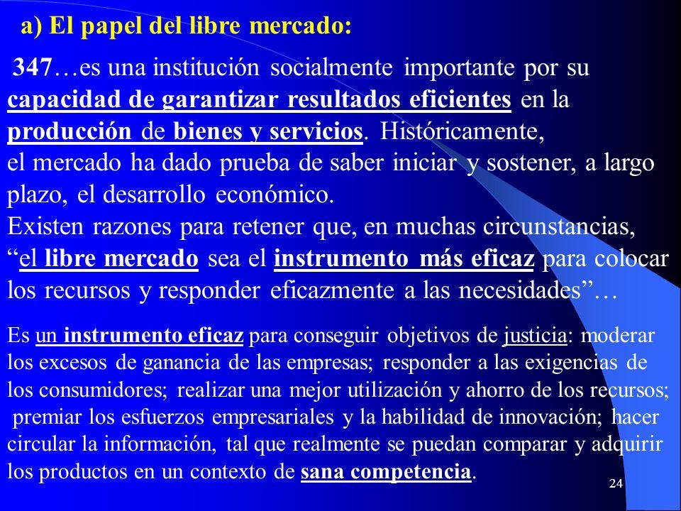 a) El papel del libre mercado: