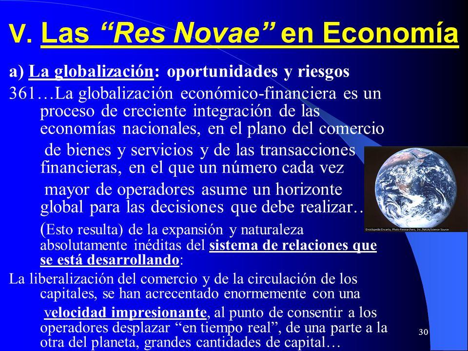 V. Las Res Novae en Economía