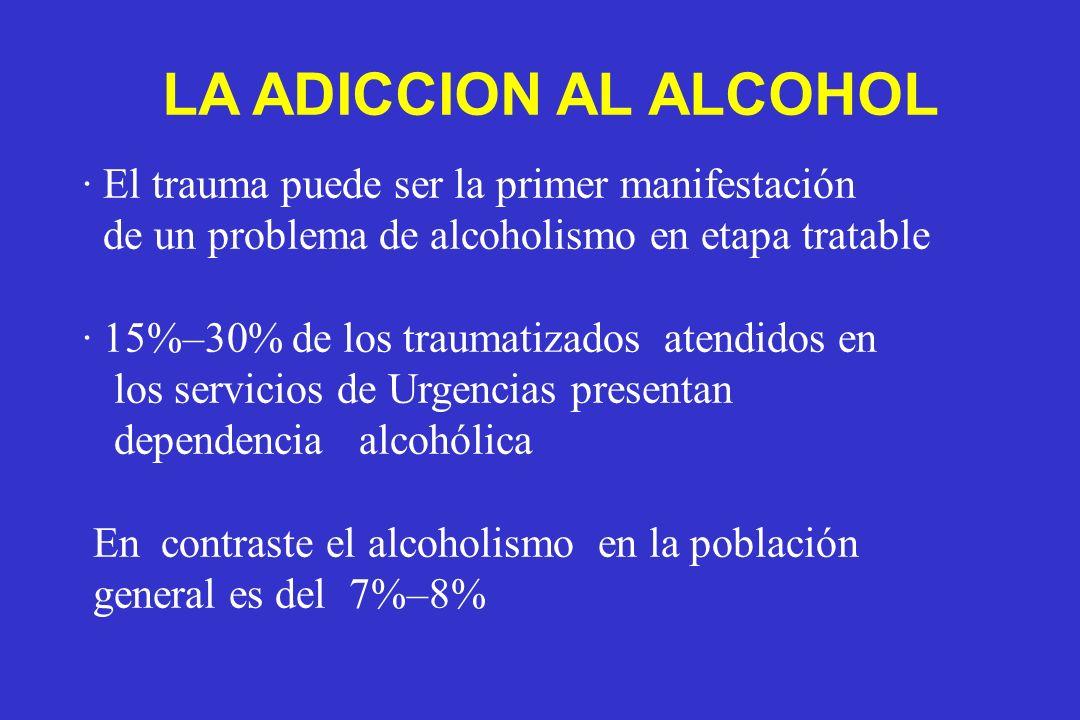 LA ADICCION AL ALCOHOL · El trauma puede ser la primer manifestación