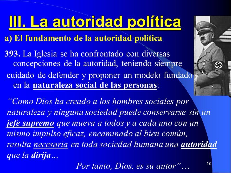 III. La autoridad política