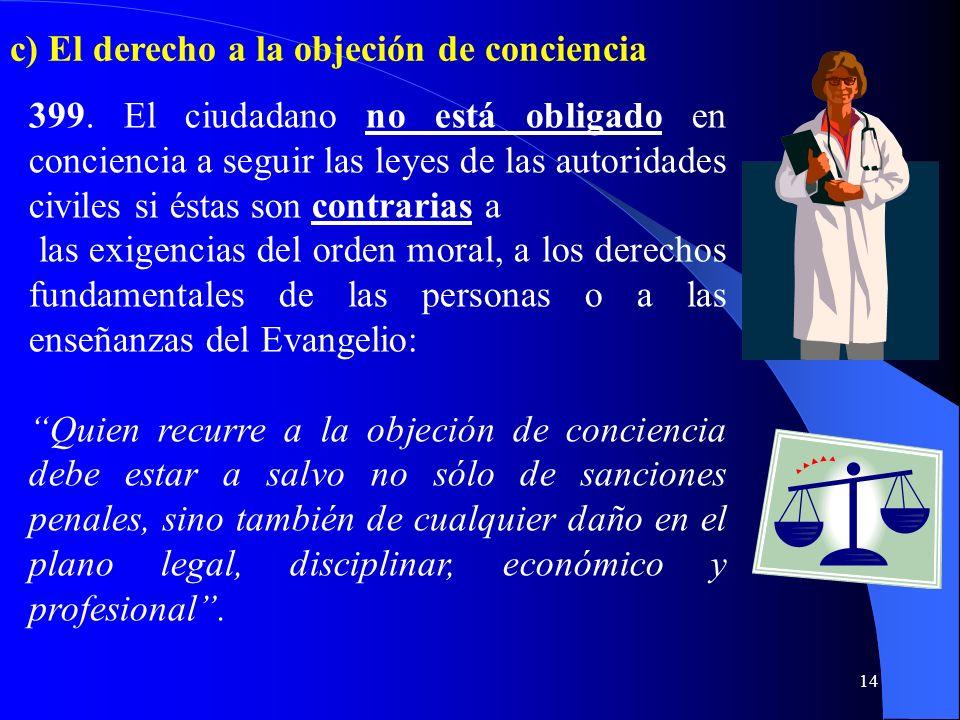 c) El derecho a la objeción de conciencia