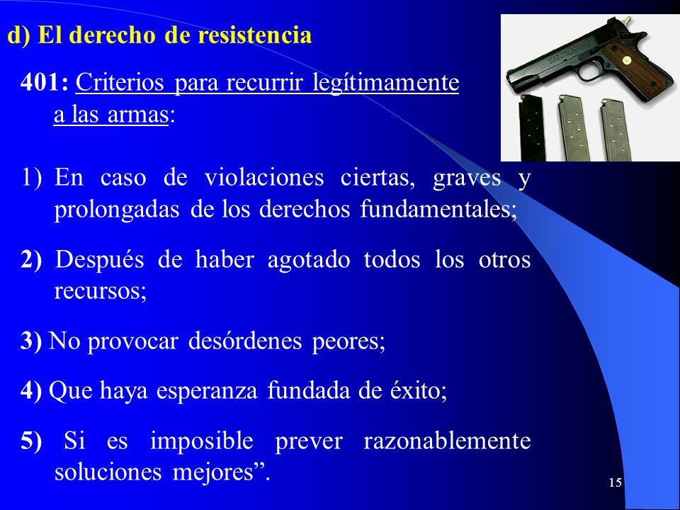 d) El derecho de resistencia