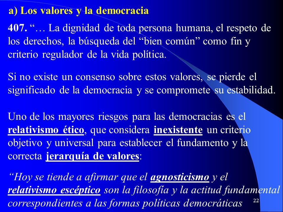 a) Los valores y la democracia