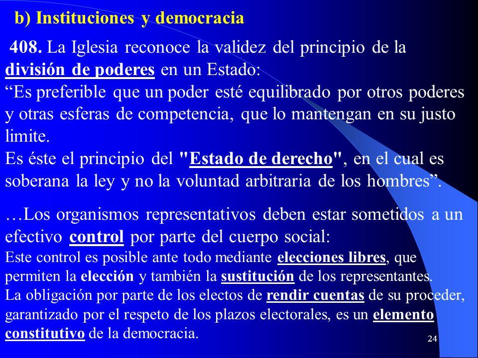 b) Instituciones y democracia