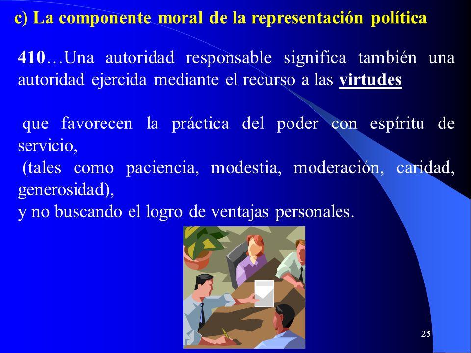 c) La componente moral de la representación política