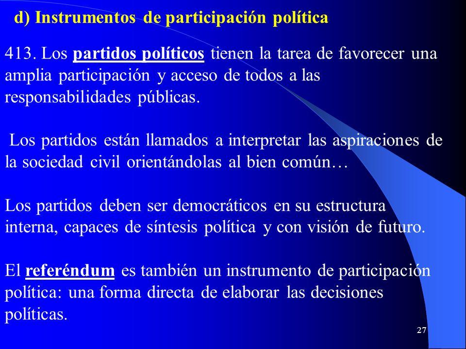 d) Instrumentos de participación política