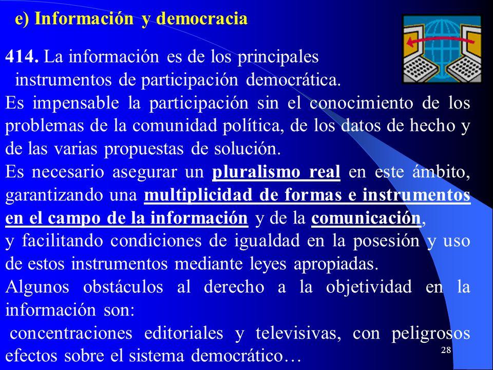 e) Información y democracia