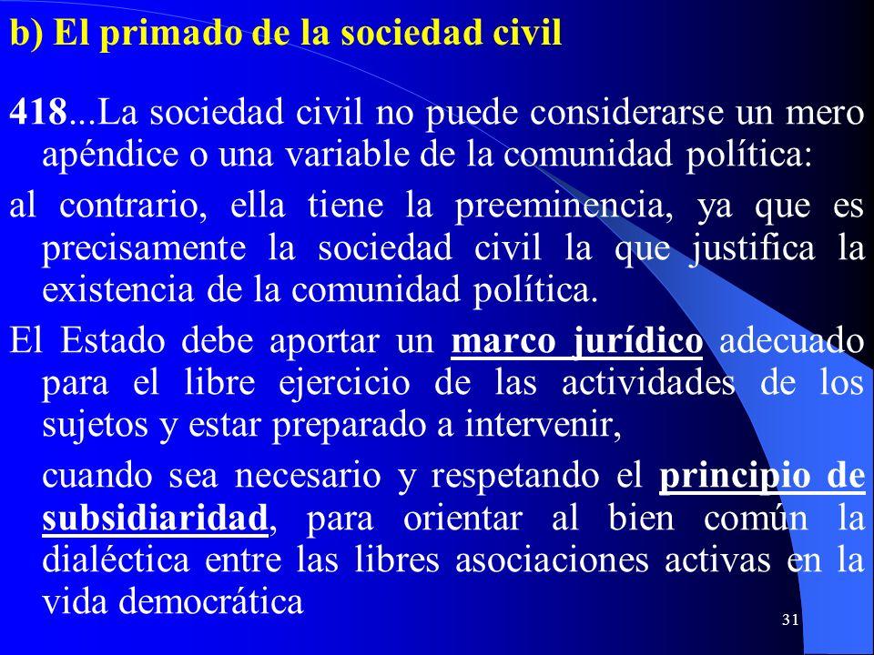 b) El primado de la sociedad civil