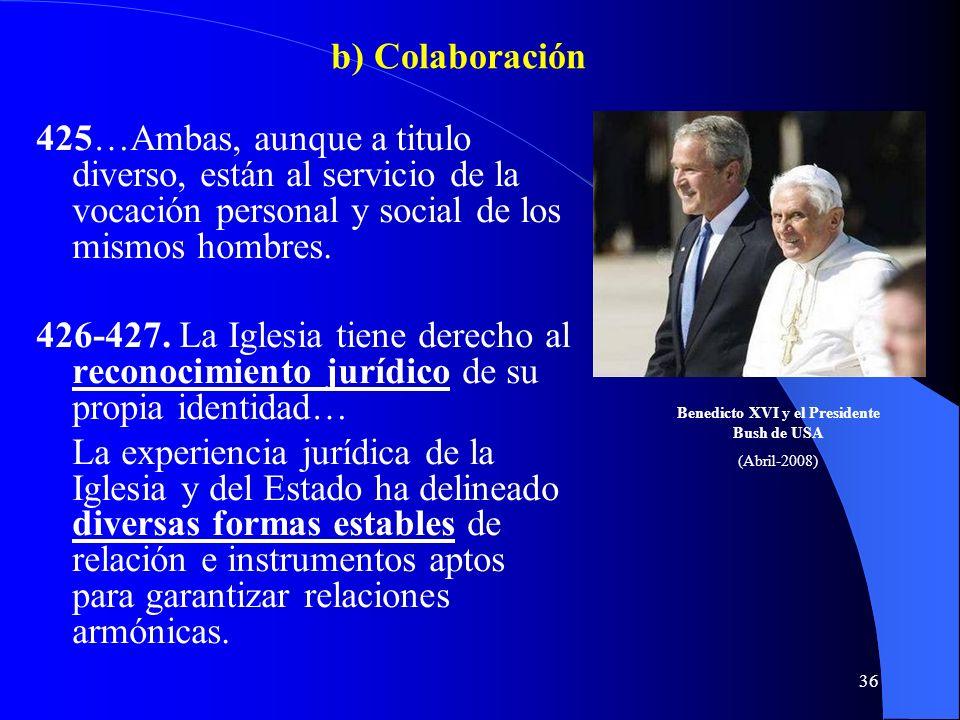 Benedicto XVI y el Presidente Bush de USA