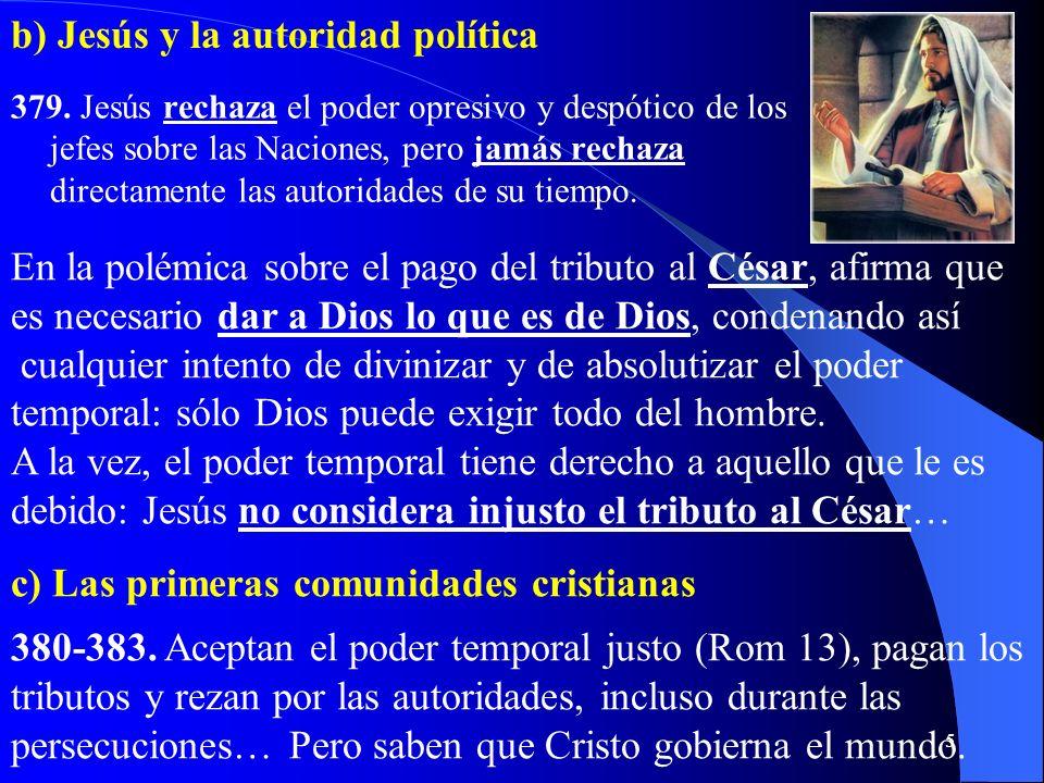 b) Jesús y la autoridad política
