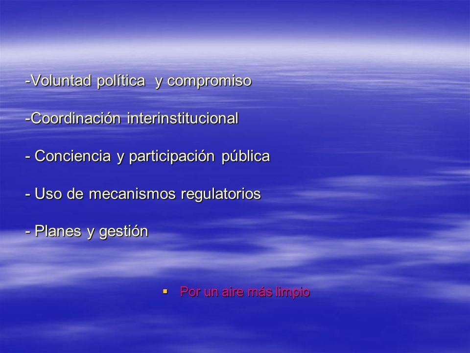 -Voluntad política y compromiso -Coordinación interinstitucional - Conciencia y participación pública - Uso de mecanismos regulatorios - Planes y gestión