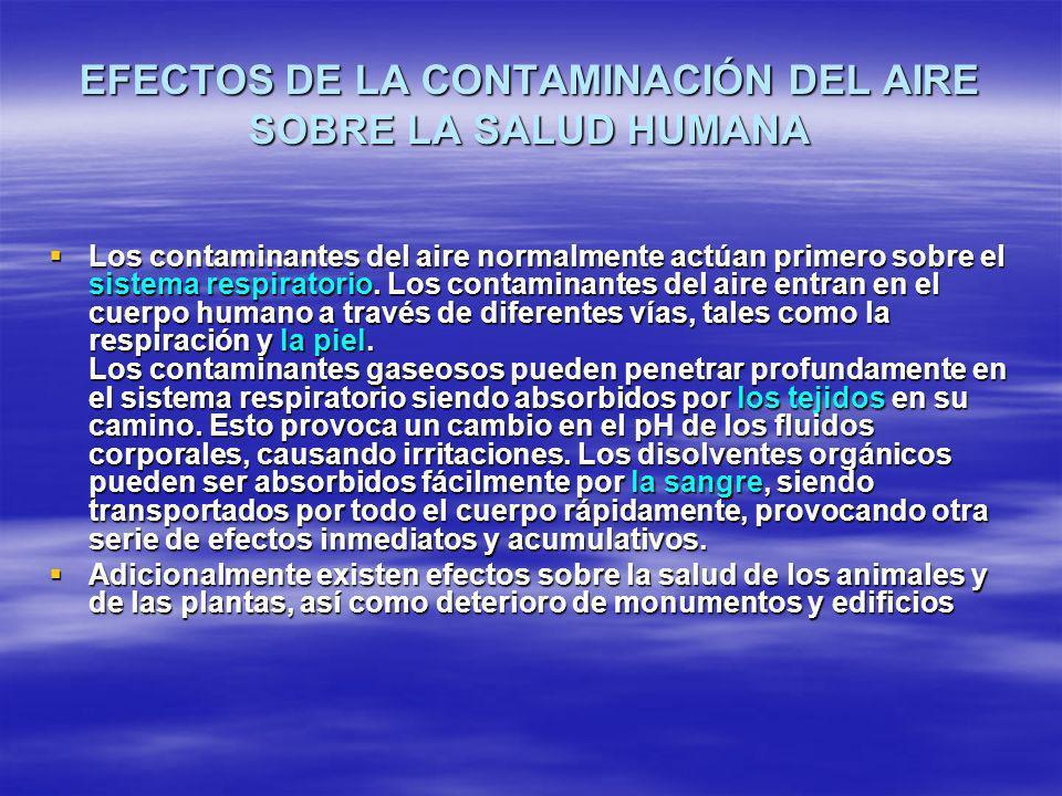 EFECTOS DE LA CONTAMINACIÓN DEL AIRE SOBRE LA SALUD HUMANA
