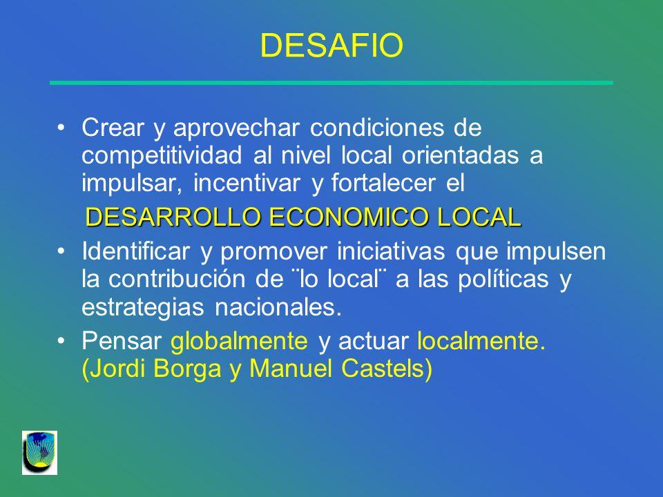DESAFIO Crear y aprovechar condiciones de competitividad al nivel local orientadas a impulsar, incentivar y fortalecer el.