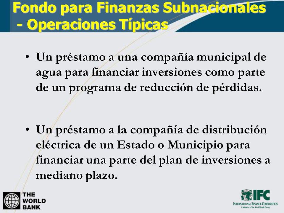 Fondo para Finanzas Subnacionales - Operaciones Típicas