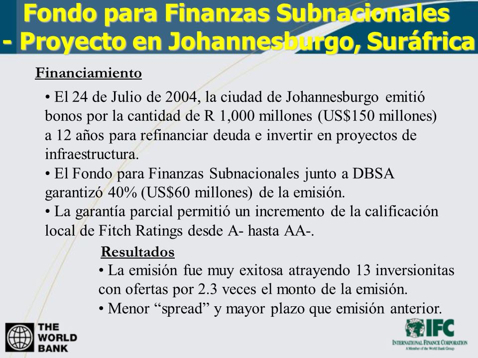 Fondo para Finanzas Subnacionales - Proyecto en Johannesburgo, Suráfrica