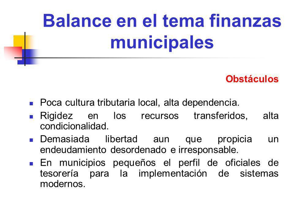 Balance en el tema finanzas municipales