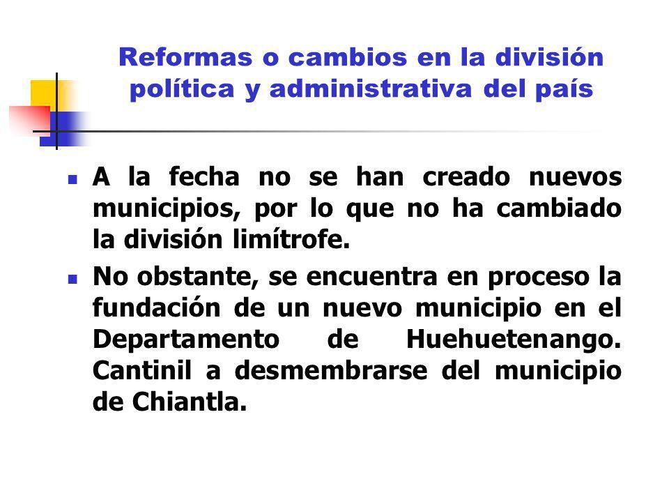 Reformas o cambios en la división política y administrativa del país