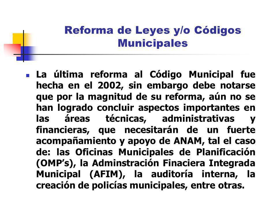 Reforma de Leyes y/o Códigos Municipales