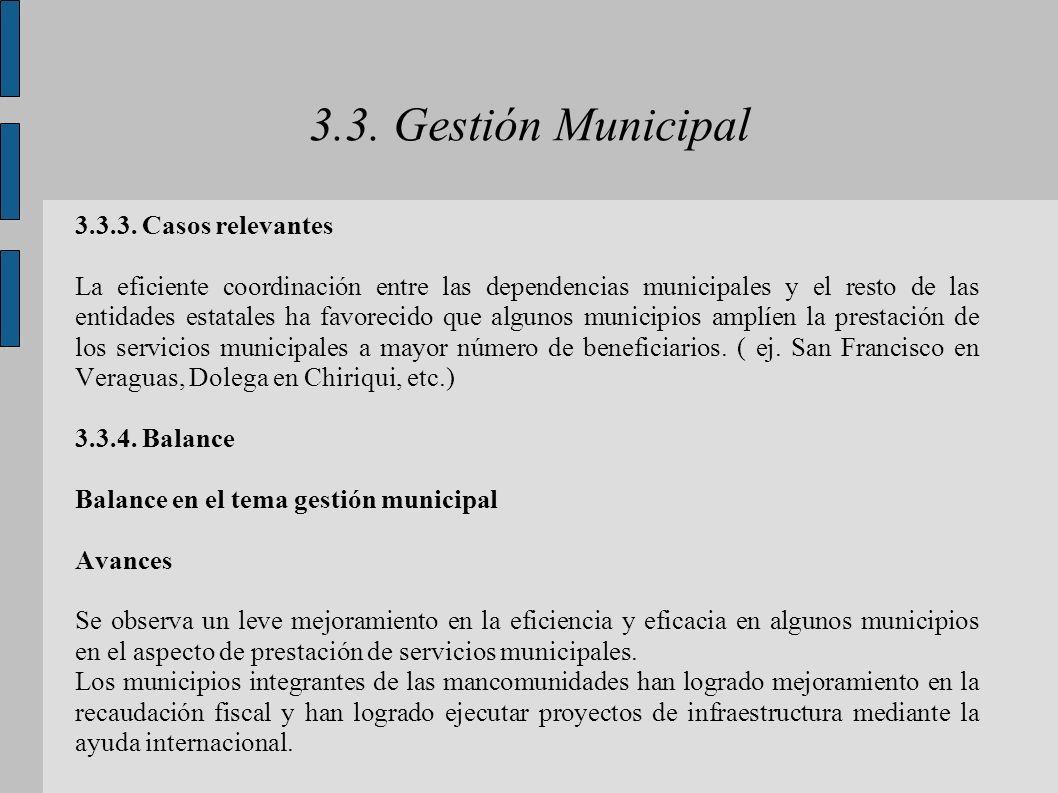 3.3. Gestión Municipal 3.3.3. Casos relevantes