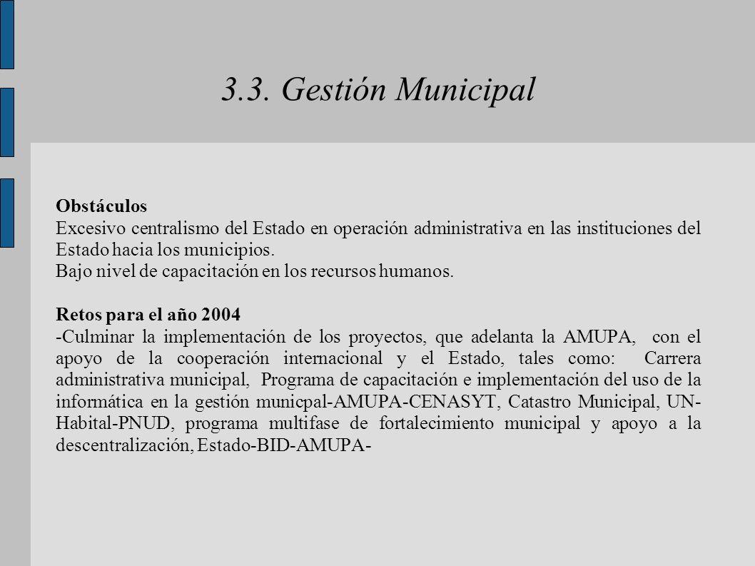 3.3. Gestión Municipal Obstáculos