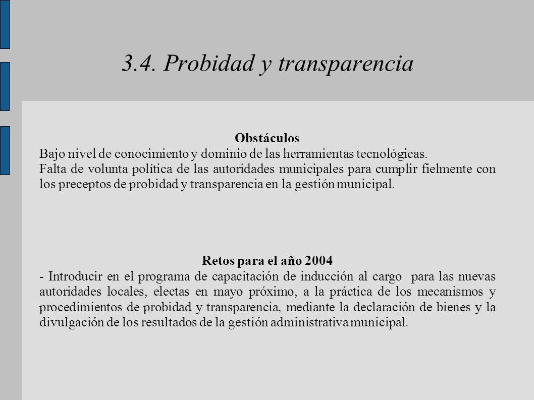 3.4. Probidad y transparencia