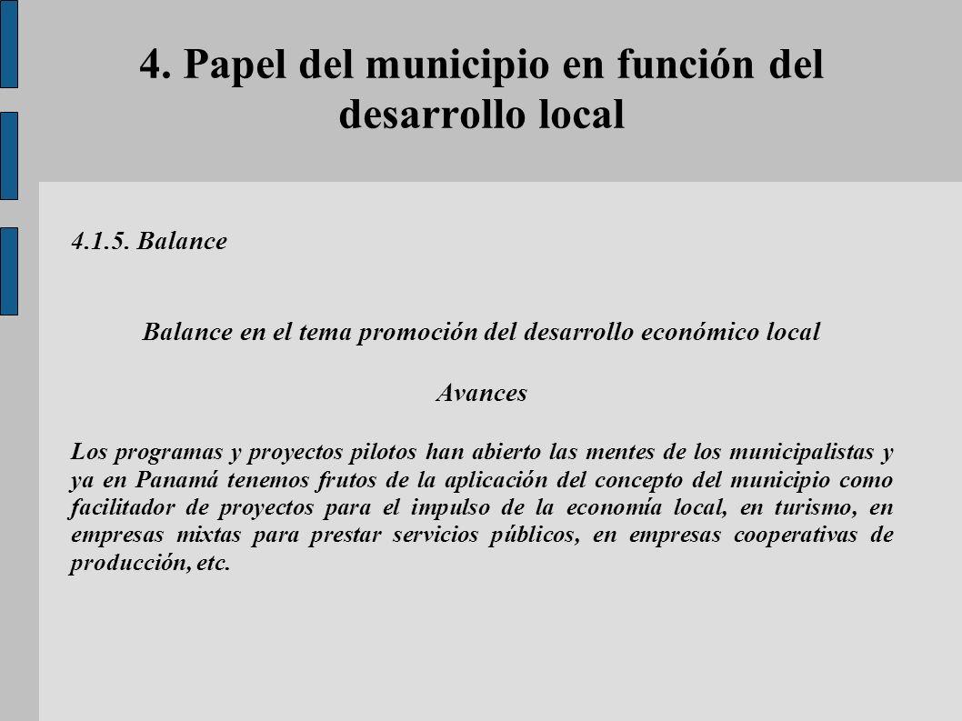 4. Papel del municipio en función del desarrollo local