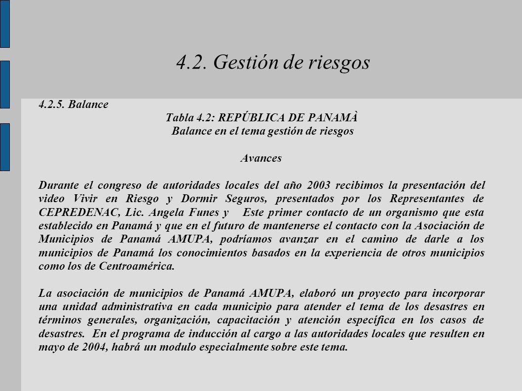Tabla 4.2: REPÚBLICA DE PANAMÀ Balance en el tema gestión de riesgos