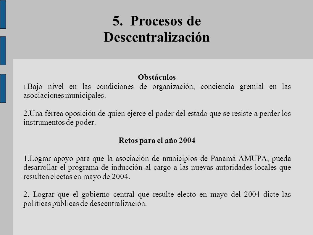 5. Procesos de Descentralización