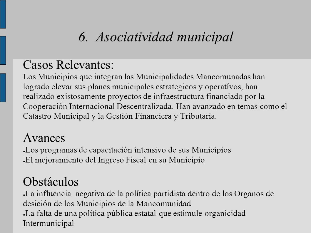 6. Asociatividad municipal