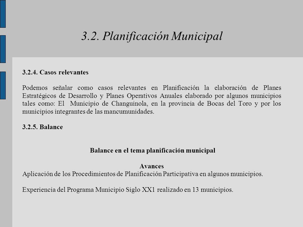 3.2. Planificación Municipal