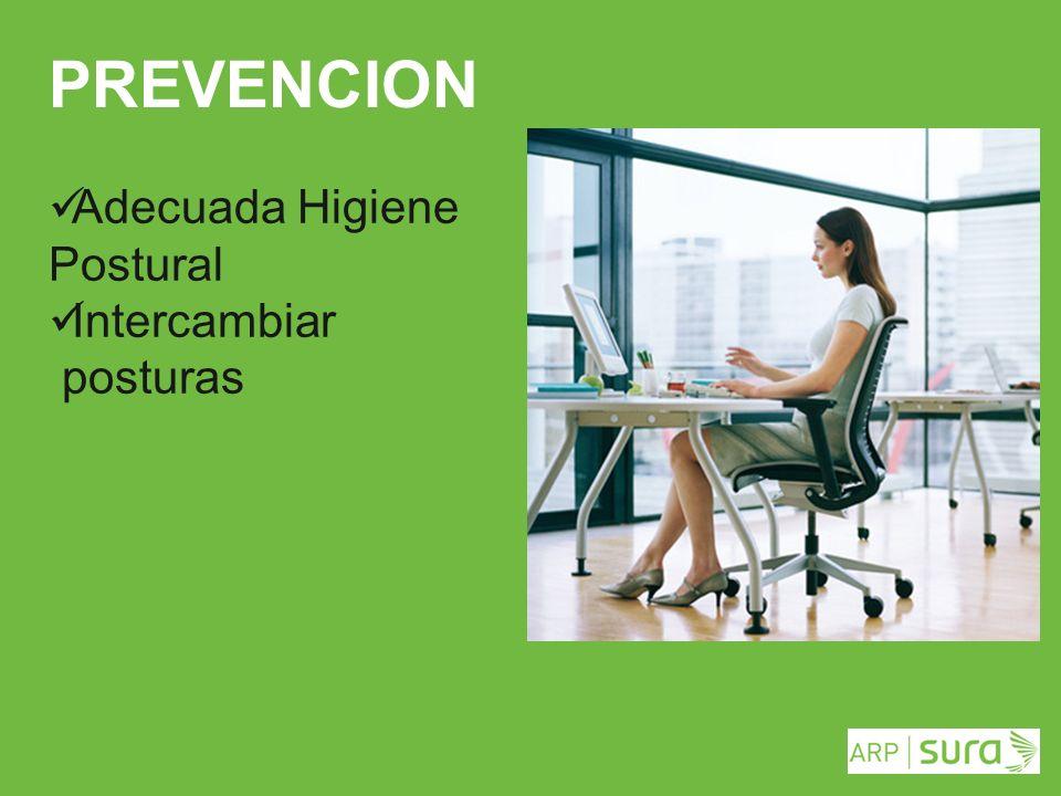 PREVENCION Adecuada Higiene Postural Intercambiar posturas