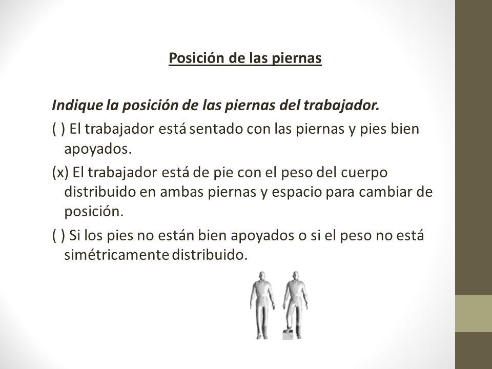Posición de las piernas Indique la posición de las piernas del trabajador.