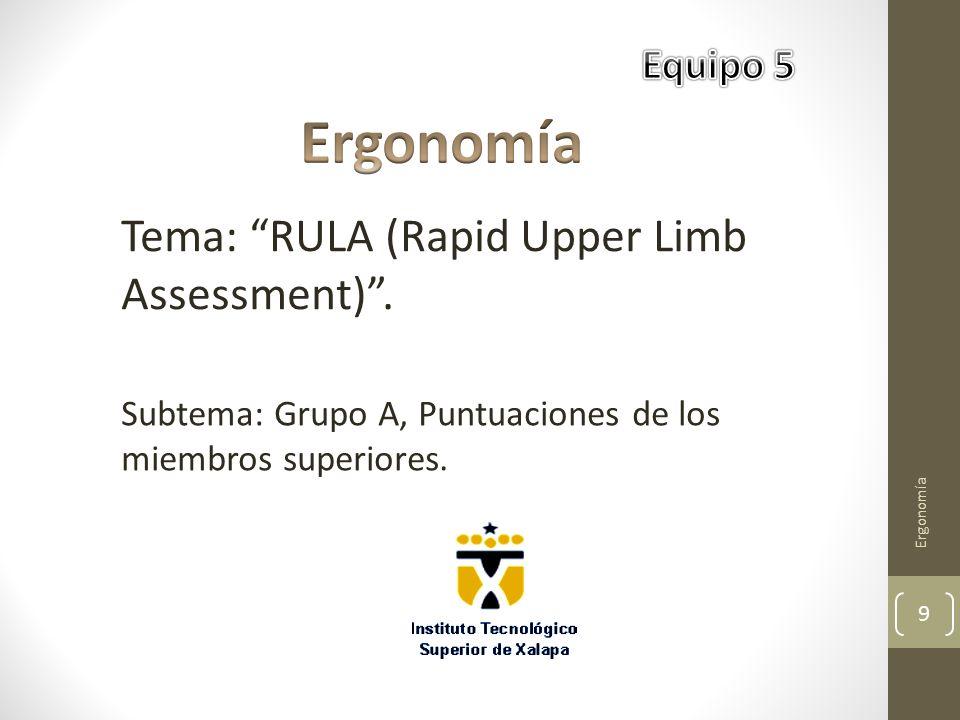 Ergonomía Tema: RULA (Rapid Upper Limb Assessment) . Equipo 5