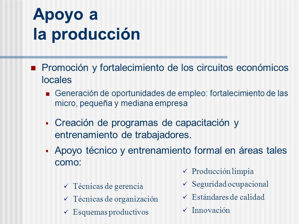 Apoyo a la producción Promoción y fortalecimiento de los circuitos económicos locales.